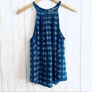 Joie Silk Blue Mosic Print Sleeveless Blouse Top